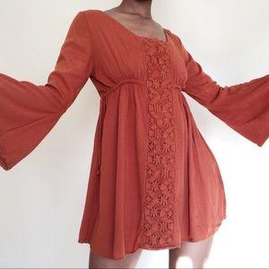 Altar'D State Rustic Orange Mini Dress